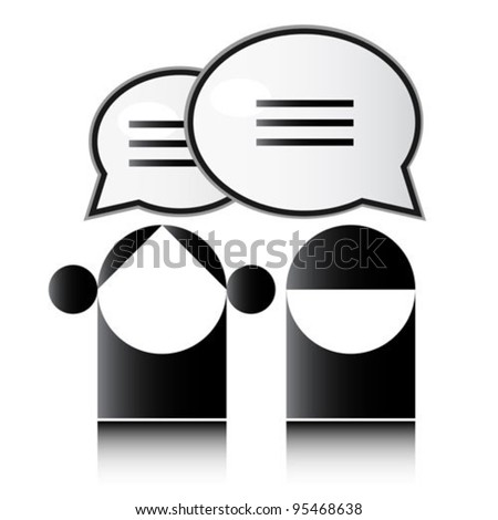 People share communication speech bubbles - stock vector