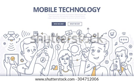 People share digital information with mobile devices. Doodle design style concept of mobile technology, wireless communication Linear style illustration for web banners, hero images, printed materials - stock vector