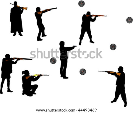 people shooting guns vector silhouettes - stock vector