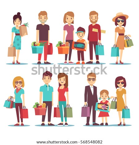 People shopping in mall vector cartoon characters set. Family with children and shopping bags. Illustration of woman in shopping.