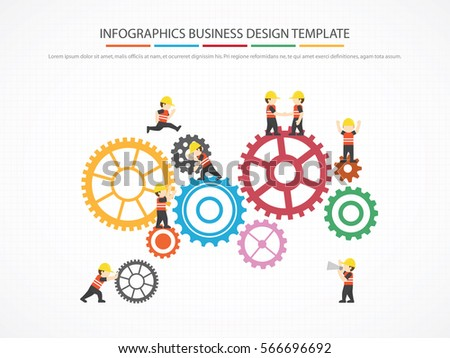 People Showing Teamwork On Gear Infographic Stock Vector 566696692 ...