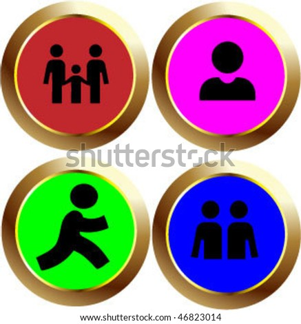 people sign icon button - stock vector
