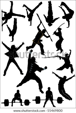 People silhouette and sport silhouette vector collection - stock vector