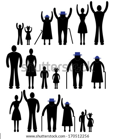 People silhouette family icon. Happy children, old man, woman grandchildren, parent together sign symbol pictogram person vector - stock vector