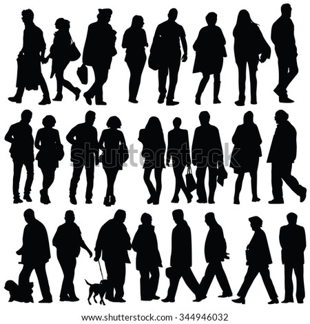 people silhouette walking vector on white background - stock vector