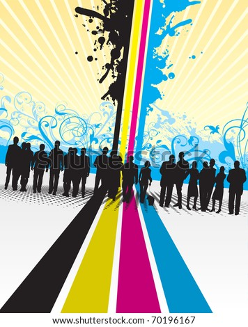 people silhouettes on a cmyk line background - stock vector