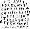 People silhouettes set fun, jump and fashion - stock vector