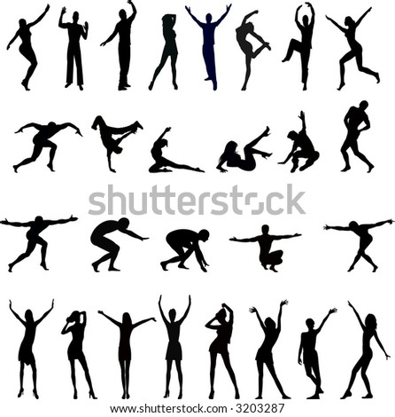 People silhouettes - vector - stock vector
