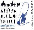 people silhouettes vector illustration; professions - stock vector