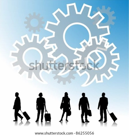 people silhouettes with gears - stock vector