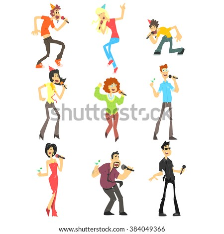 People Singing Karaoke, Flat Vector Illustration Collection - stock vector