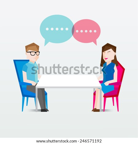 People Sitting and Talking Vector Illustration - stock vector
