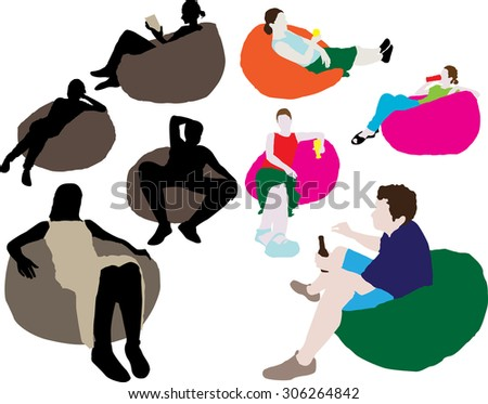 People sitting on a lazy bag - stock vector