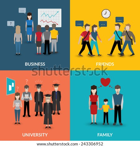 People social behavior communication patterns four flat icons composition for university business family home situation vector illustration - stock vector