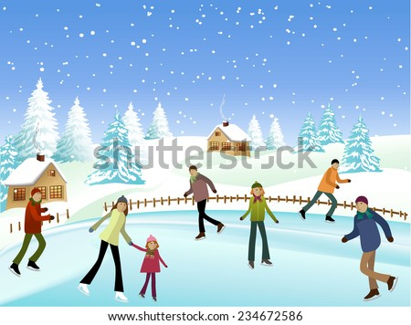 People spending their free time skating on ice - stock vector