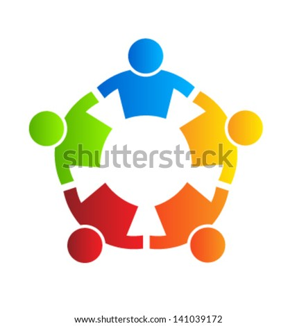 People Strong 5 - logo template - icon vector - stock vector