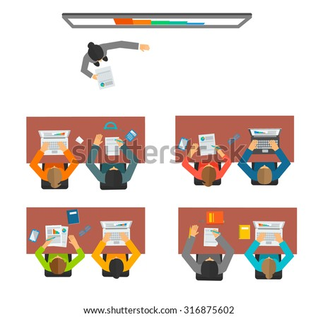 People studying at the university or college, sitting behind the desks. Teacher is giving a lecture, vector illustration. Top view of classroom, vector illustration - stock vector