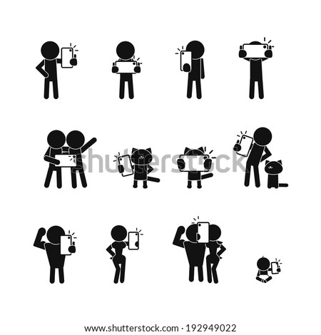 People taking a selfie. Vector icons set - stock vector