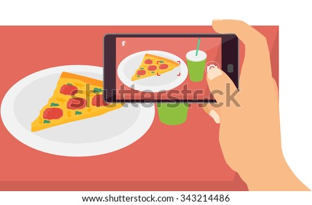 People taking picture photo of their food  with smart phone - stock vector