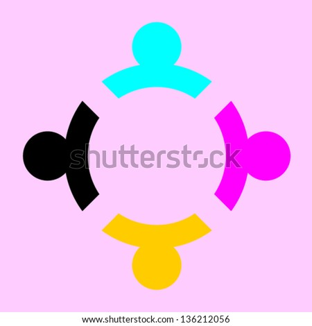 People team in circle - stock vector