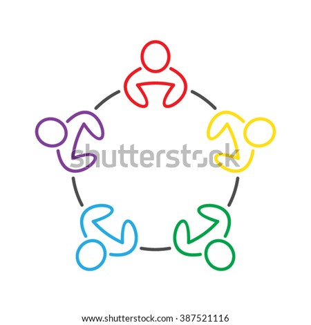 People Teamwork Meeting Dialog Communication Discussion Vector Icon - stock vector