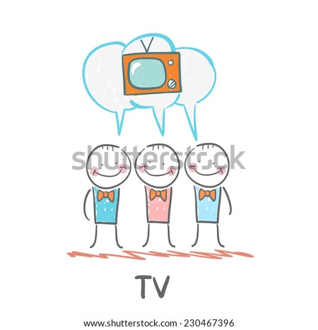 people think about the TV - stock vector