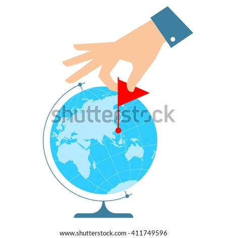 People travel concept. Flat vector illustration of eastern globe hemisphere and human hand with flag marker. Man is pointing a place on the map. Infographic element for web, print, social networks. - stock vector