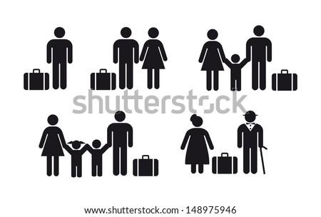 people travel icon - vector set - stock vector
