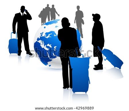 People traveling around the world Original Vector Illustration