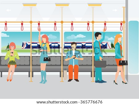 People traveling on the subway, inside a subway train, transportation vector illustration. - stock vector