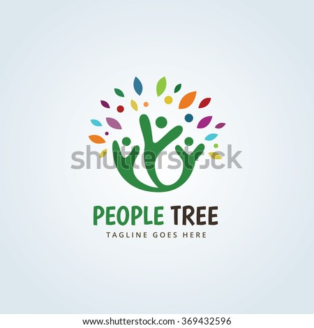People Tree Logo,People logo,family logo,kids logo,Vector Logo Template  - stock vector