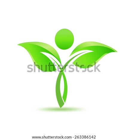 People tree with green leafs ecology concept vector environmental protection, nature conservation, eco friendly, renewable, sustainability, icon logo template - stock vector