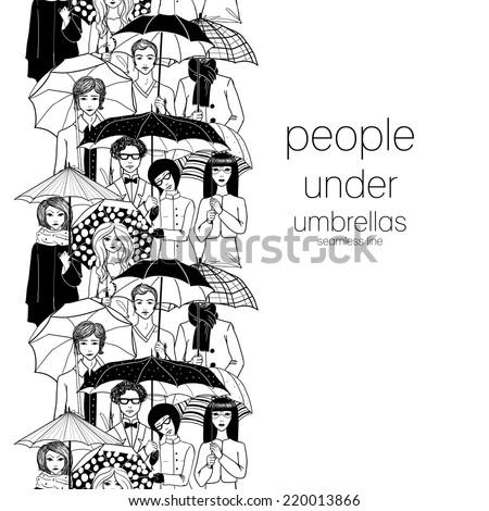 People under umbrella seamless line. - stock vector