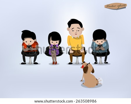 people using mobile phones socializing on internet - stock vector