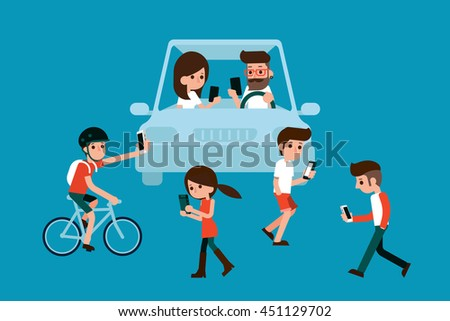 People using smartphones while walking and driving in city.