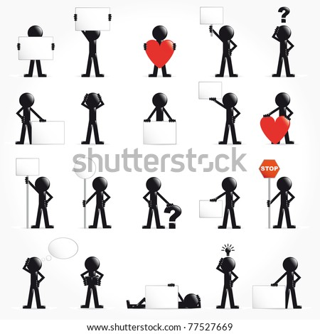 People vector 3D icon set arrows concept illustration - stock vector