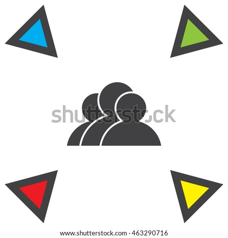 People vector icon. Three guys sign. Business symbol