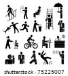 people vector icons set - black on white - stock photo