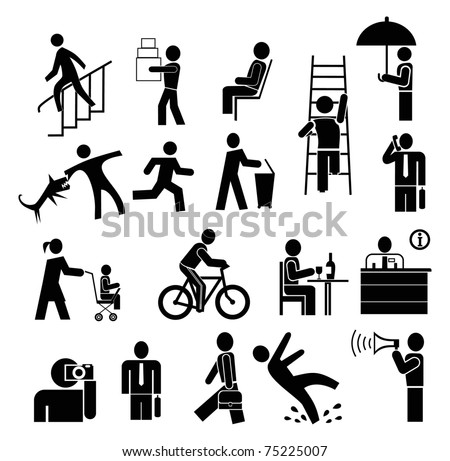people vector icons set - black on white - stock vector