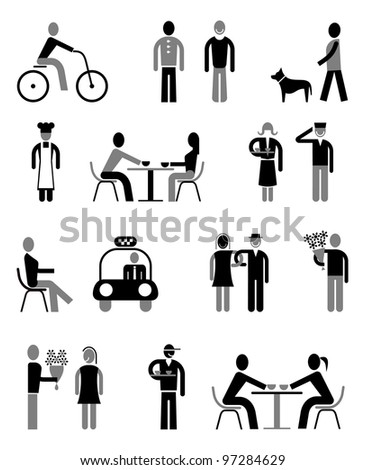 People vector icons set - isolated black and grey on white. - stock vector