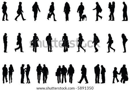 People. Vector Silhouettes. - stock vector