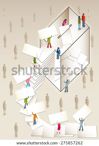 people voting in a ballot box with a ladder formed with votes as steps - stock vector