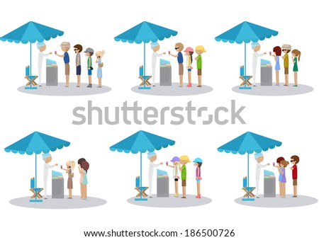 People Waiting In Line For Ice Cream - Different Situations, Summer Poster - Vector Illustration, Graphic Design Editable For Your Design - stock vector