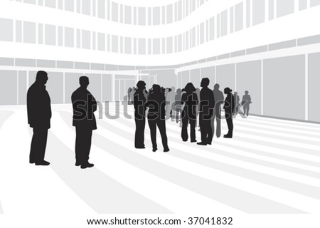 people waiting in line on modern corporate building background