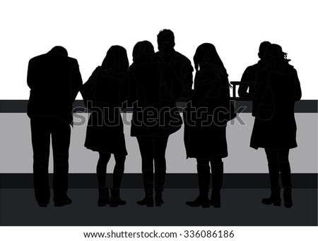 People waiting in line to pay, buy, in the bank, the information, order food - stock vector