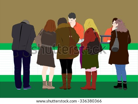 People waiting in line to pay, buy, in the bank, the information, order food vector - stock vector