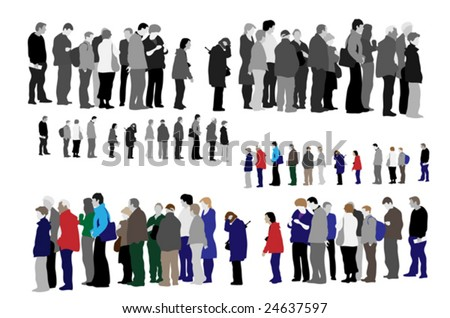 people waiting in queue - stock vector