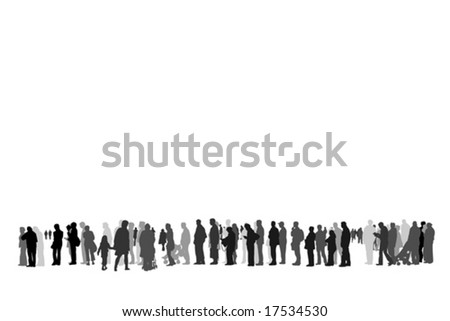 people waiting in queue silhouette - stock vector