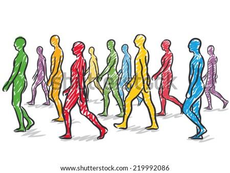 people walking - stock vector