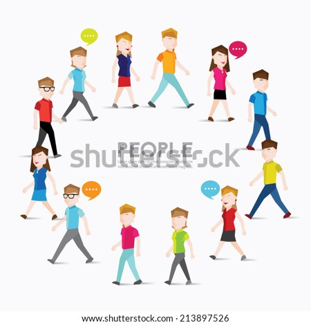 People walking and gather together vector design - stock vector
